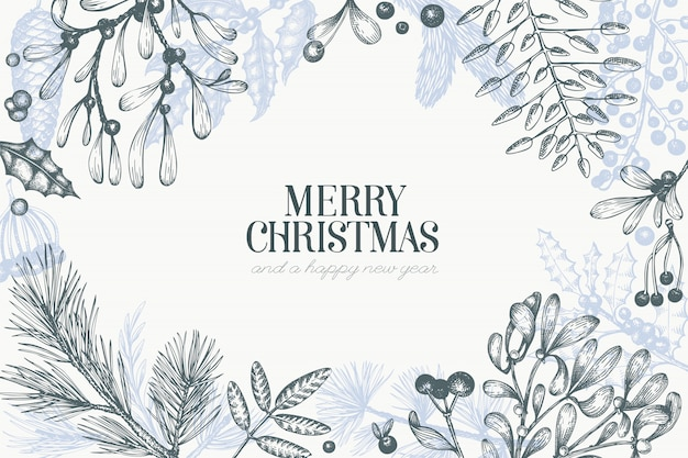 Merry christmas hand drawn vector greeting card template. vintage style illustration