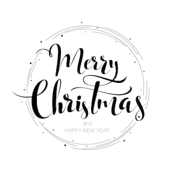 Merry christmas hand happy new year lettering