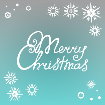 Merry christmas hand lettering against the background of snowflakes.