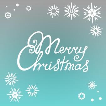 С рождеством христовым рука надписи на фоне снежинок.