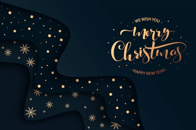 Merry christmas hand lettering background with christmas balls and lights