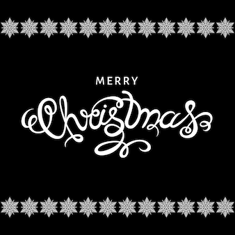 Merry christmas hand lettering on black  background with white snowflakes. vector illustration.
