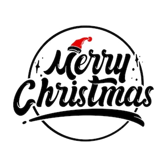 Merry christmas hand lettering decoration