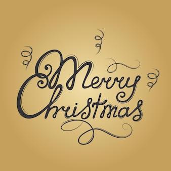 Merry christmas hand lettering. festive inscription. greeting card.