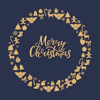 메리 크리스마스 핸드 레터링입니다. 낙서 스타일의 새해를 위한 축제 라운드 프레임.