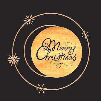С рождеством христовым рука надписи. золотая текстура. дизайн поздравительной открытки к новогодним праздникам.
