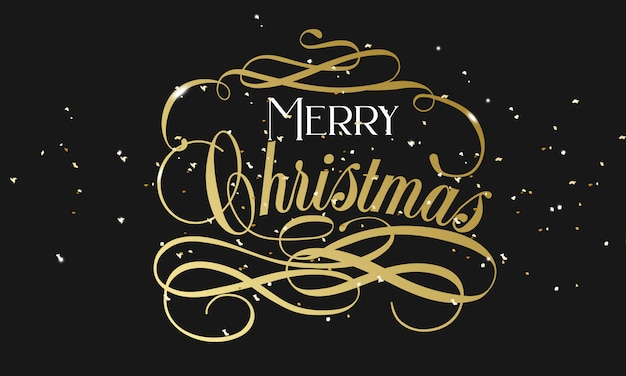 Merry christmas hand lettering in gold with confetti