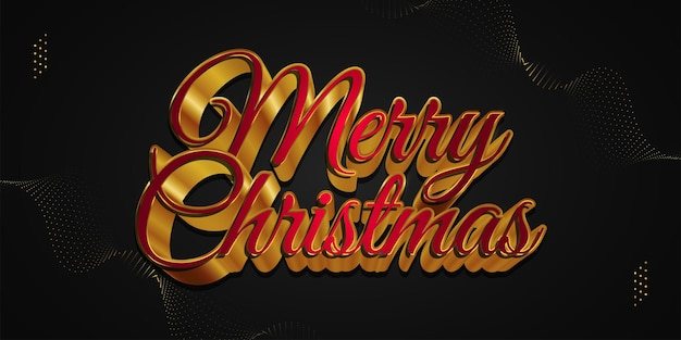 Merry christmas hand lettering in luxury red and gold with 3d effect. merry christmas design for banner, poster, or greeting card