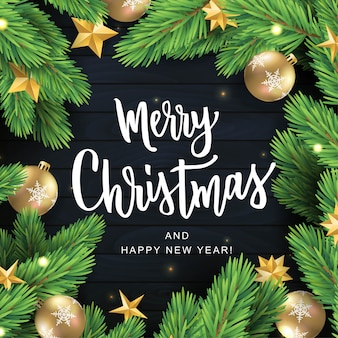 Merry christmas hand lettering text card. realistic pine branch with gold stars, balls on black wood background. typography inscription for new year and christmas holiday design.  illustration.