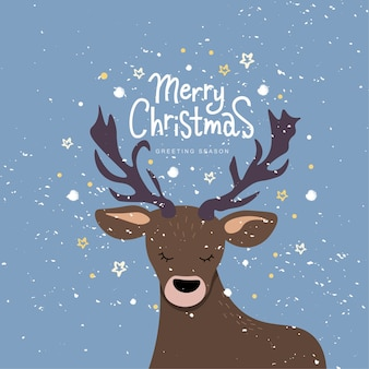 Merry christmas hand lettering text on textured background with deer head.
