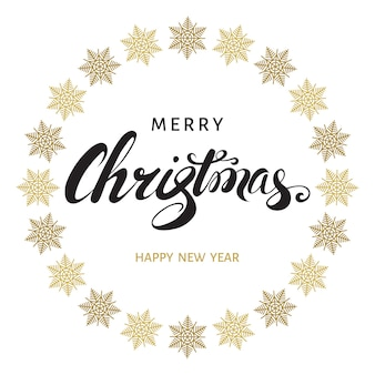 Merry christmas hand lettering with golden  snowflakes on white  background
