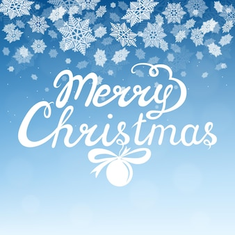 Merry christmas hand lettering with white snowflakes on blue background. vector greeting  card.