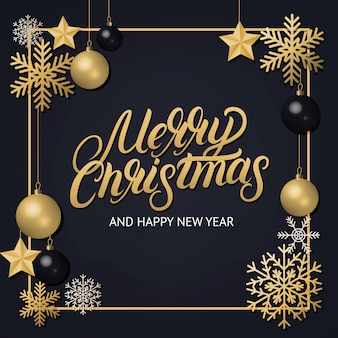 Merry christmas hand written lettering with golden decoration ornament.