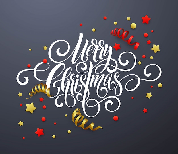 Merry christmas handwriting script lettering, christmas congratulatory card with streamers