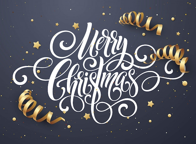 Merry christmas handwriting script lettering, christmas congratulatory card