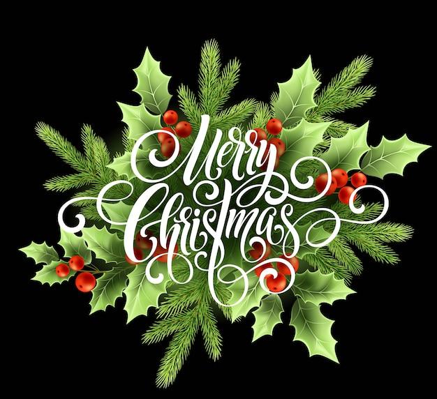 Счастливого рождества почерк сценарий надписи, рождественская открытка с холли.