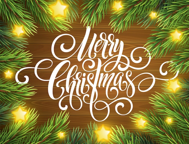 Merry christmas handwriting script lettering, greeting card with a christmas tree.