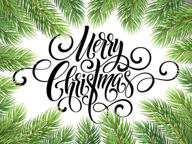Merry christmas handwriting script lettering, greeting card