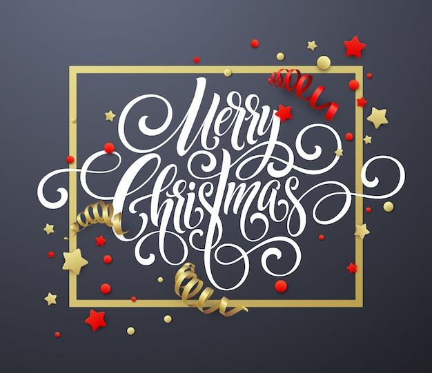 Merry christmas handwriting script lettering, greeting card