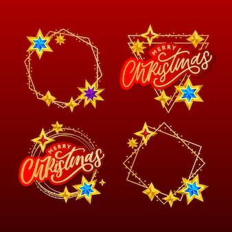 Счастливого рождества рукописные современные надписи кистью с золотой рамкой