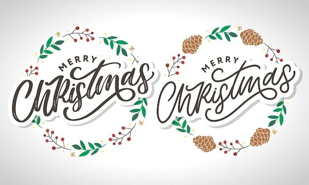 Merry christmas handwritten modern brush lettering