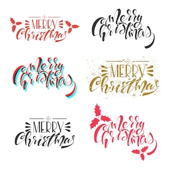 Merry christmas  handwritten text set isolated on a white .