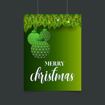 Merry christmas hanging ball with bokeh poster template