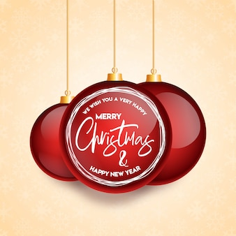 Merry christmas haning ball card background