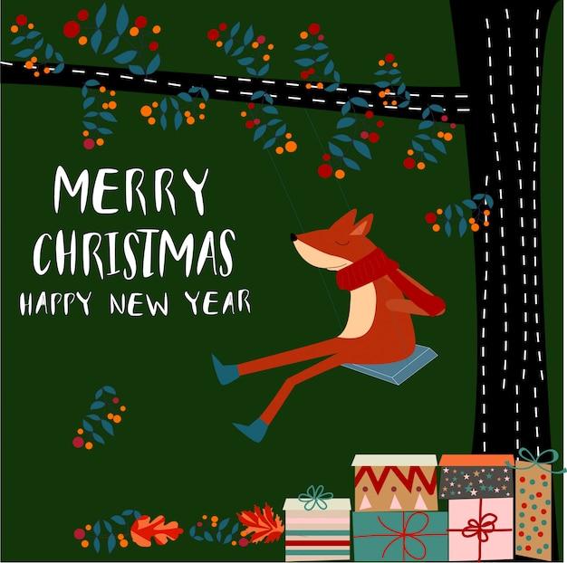 Merry christmas happy fox animal cartoon doodle art