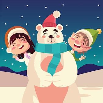 メリークリスマス、幸せな女の子と男の子のホッキョクグマと帽子のお祝いのイラスト