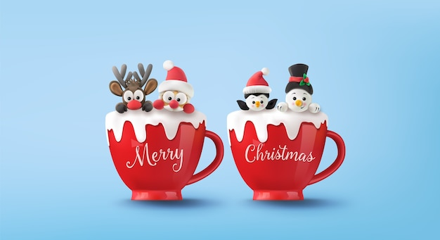 Merry christmas and happy and happy new year. santa claus, snowman, reindeer and penguin on red cup with snow.