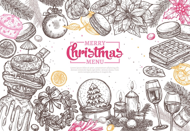 レストランやカフェでのディナーメニューのメリークリスマスハッピーホリデースケッチの背景。