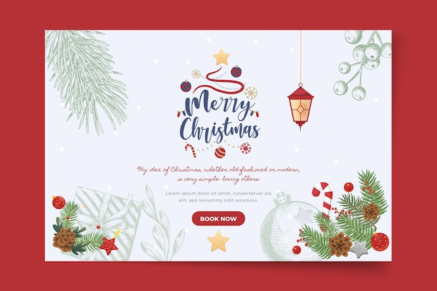 Merry christmas and happy holidays banner template