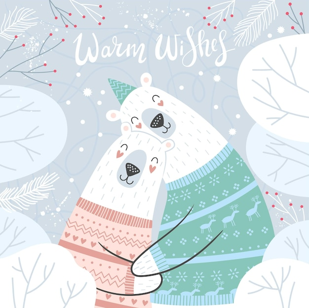 Merry christmas and happy holidays card with cute hugging polar bears ideal for print poster v