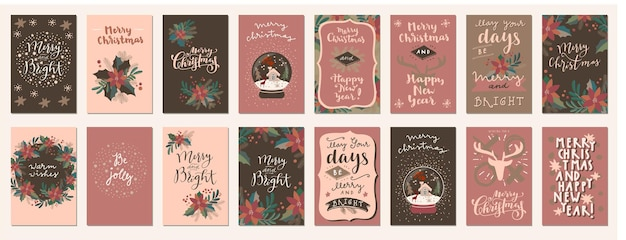 Merry christmas and happy holidays retro style vintage hand drawn greeting cards, gift tags, postcards, posters in neutral terracotta colors. calligraphic typography artwork. eps10 vector illustration