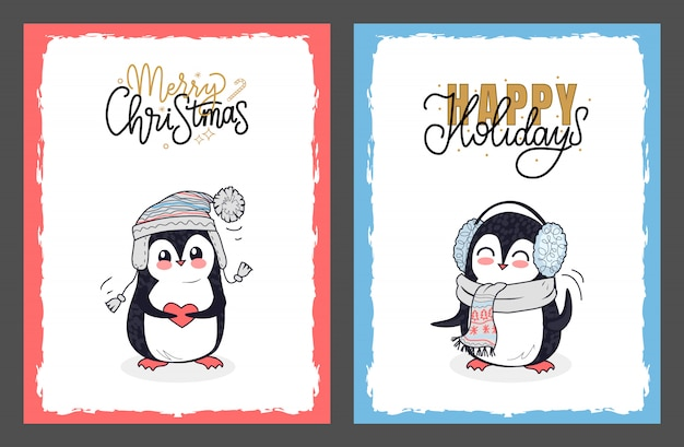 Merry christmas and happy holidays with penguins