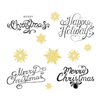 Merry christmas and happy holydays  hand lettering with golden  snowflakes on white  background. happy new year vector design for  greeting  card.