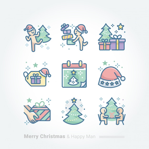 Merry christmas and happy man collection Premium Vector