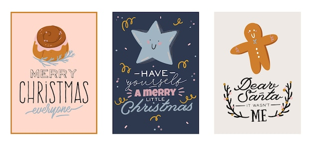 Merry christmas or happy new 2021 year cards with holiday lettering and traditional winter element.