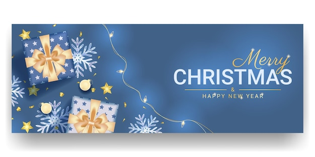 Merry christmas and happy new banner design with realistic blue decoration