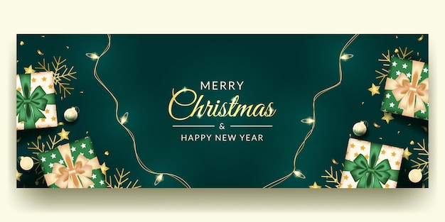 Merry christmas and happy new banner design with realistic green decoration