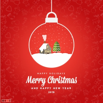 Merry christmas and happy new year 2019 card