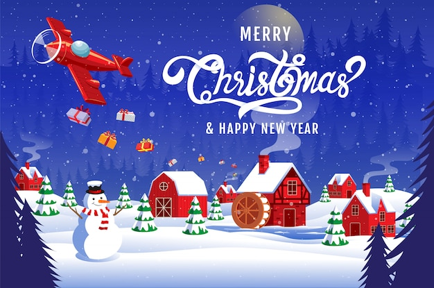 Merry christmas happy new year 2020  calligraphy landscape winter