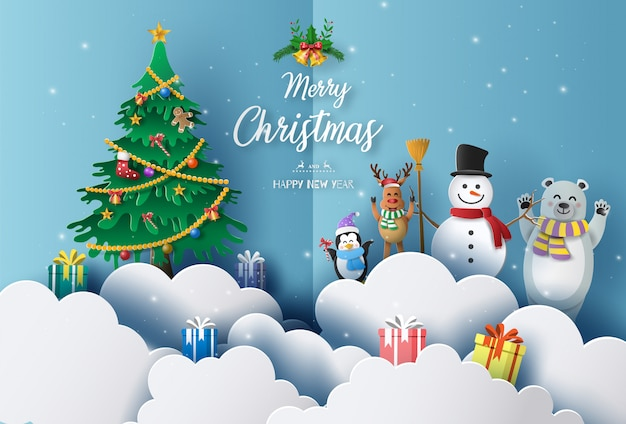 Merry christmas and happy new year 2020 concept with snowman, reindeer, bear and penguin.