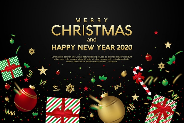 Merry christmas and happy new year 2020 greeting card template with christmas gifts