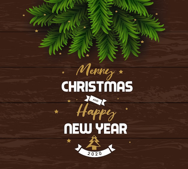 Merry christmas and happy new year 2020 greeting card
