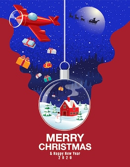 Merry christmas & happy new year 2020  snowball landscape winter