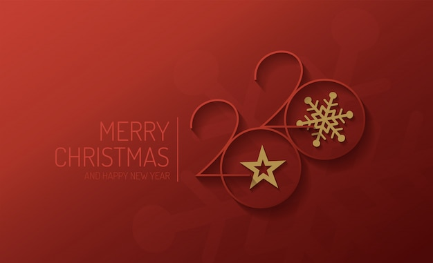 Merry christmas and happy new year 2020 vector design