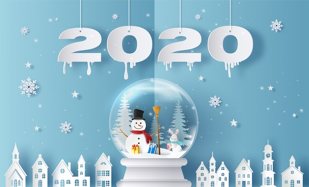 Merry christmas and happy new year 2020 with snow globe and village, greeting and invitation card.