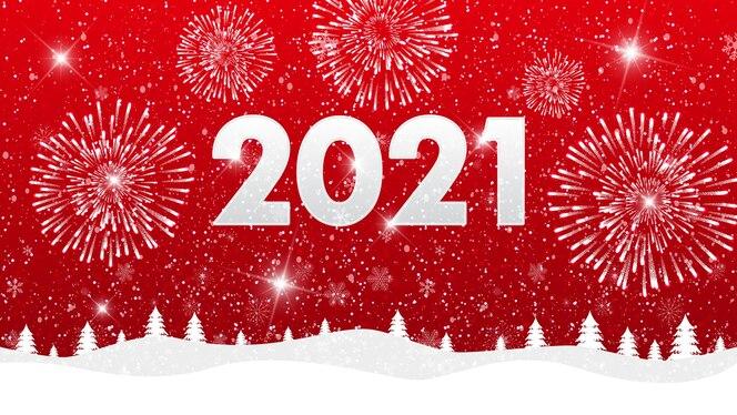 buon natale e felice anno nuovo 2021 sfondo con fuochi d'artificio e paesaggio.